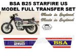 BSA B25 Starfire US Model 250cc Transfer Decal Set